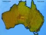 Australie mapa prirodni s popisky