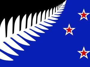 Vítězný návrh nové vlajky, který ovšem prohrál s vlajkou původní.