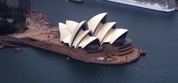 Sydney a Opera House z výšky